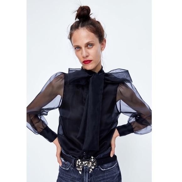 24e05c60394 NWT Zara women pussy bow sheer black blouse S